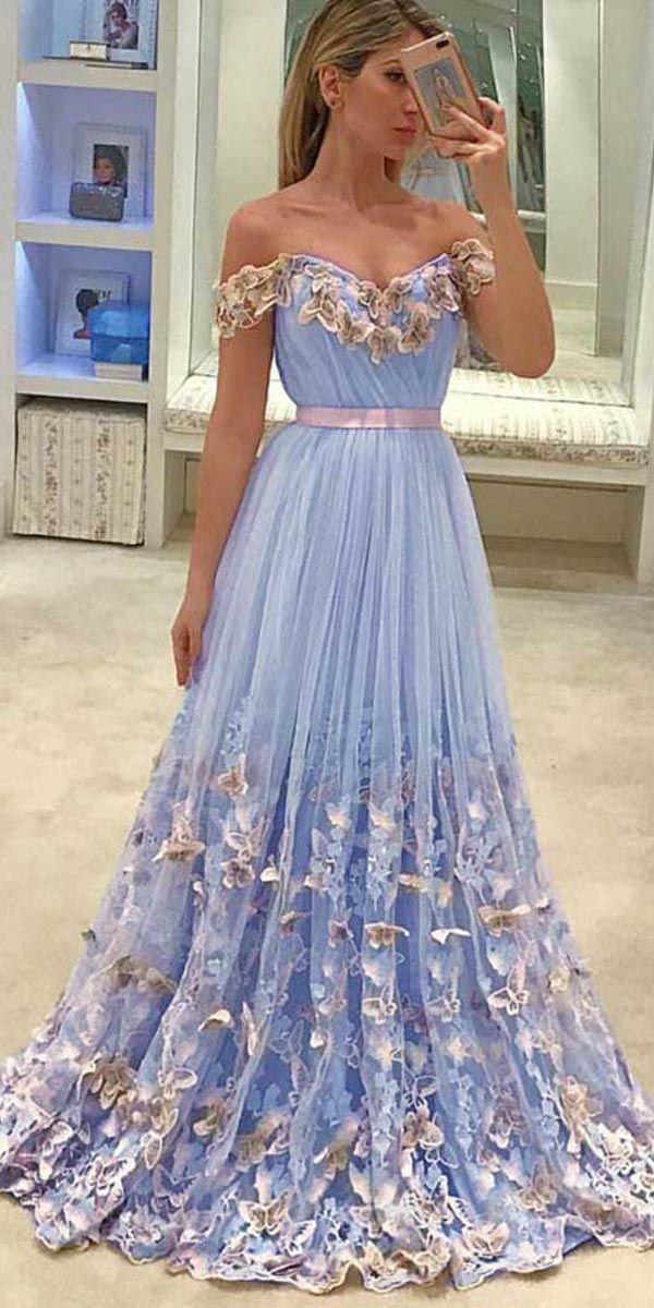 a58548e1cf A-Line Off-the-Shoulder Light Sky Blue Tulle Prom Dress with Appliques  PG816  skyblue  tulle  promdresses  eveningdresses  offshoulder  formaldress