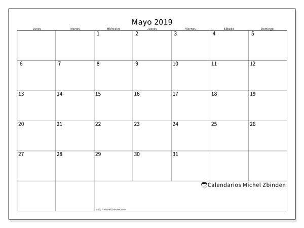 Calendario Mayo2019.Calendario Mayo 2019 53ld Calendario Para Imprimir Calendario
