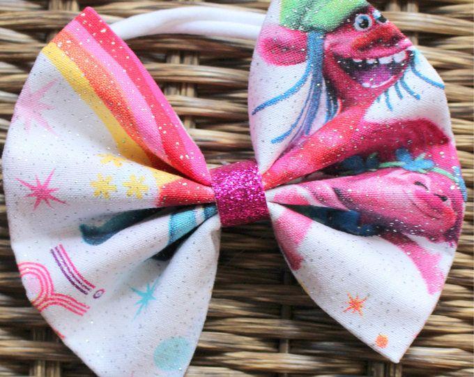 Baby Girl | Newborn | Toddler | Girls Princess Poppy Trolls Inspired Bow Nylon Headband | Hair Clip | Boy Bow Tie | Pig Tail Bows