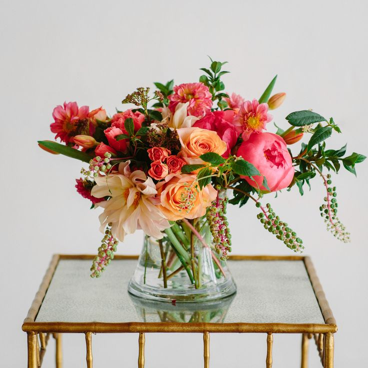 Everyday flower arrangement from Isari Flower Studio. Peonies and roses. Photography by Shane and Lauren Photography.