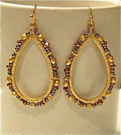 #Earrings, #Jewelry, #Unusual Exotic Tear Drop Earrings with Gold Bronze and Dark by DaisyLDK - http://www.judaic-jewelry.com/earrings/exotic-tear-drop-earrings-with-gold-bronze-and-dark-by-daisyldk.html