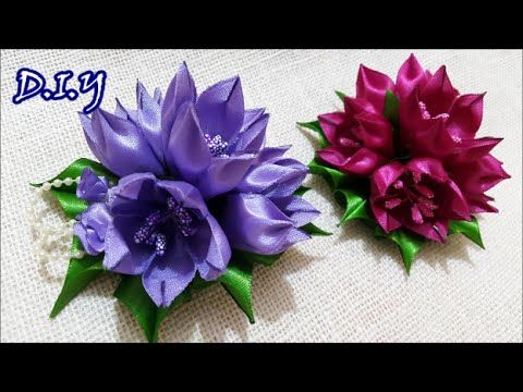✾ ❀ ❁ D.I.Y. Kanzashi Tulip Flower - Tutorial ❁ ❀ ✾ - YouTube