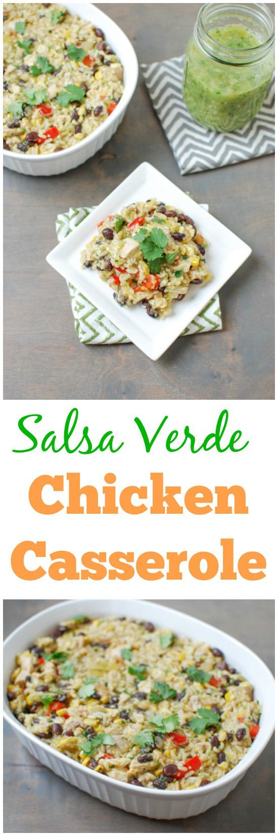 This Salsa Verde Chicken Casserole is easy to make and full of flavor! The perfect recipe for a busy weeknight dinner.
