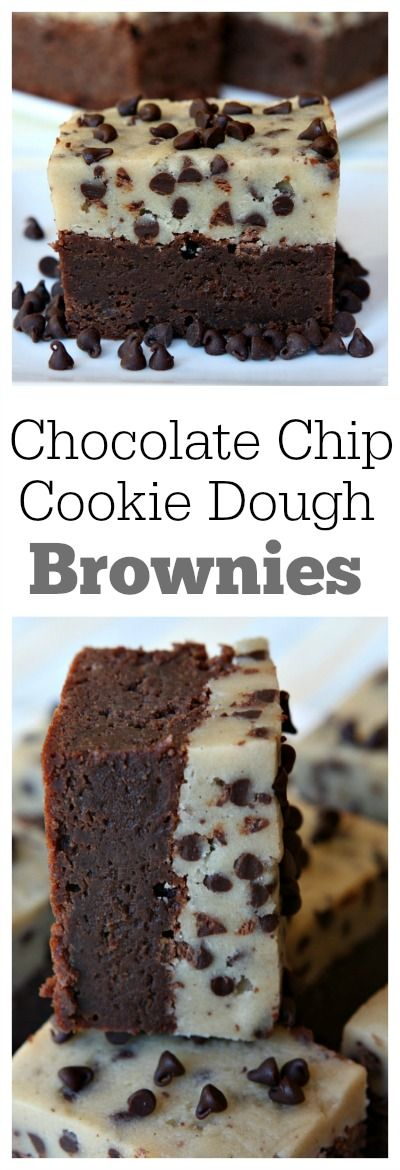 Chocolate Chip Cookie Dough Brownies : one of the most popular recipes of all time on RecipeGirl.com