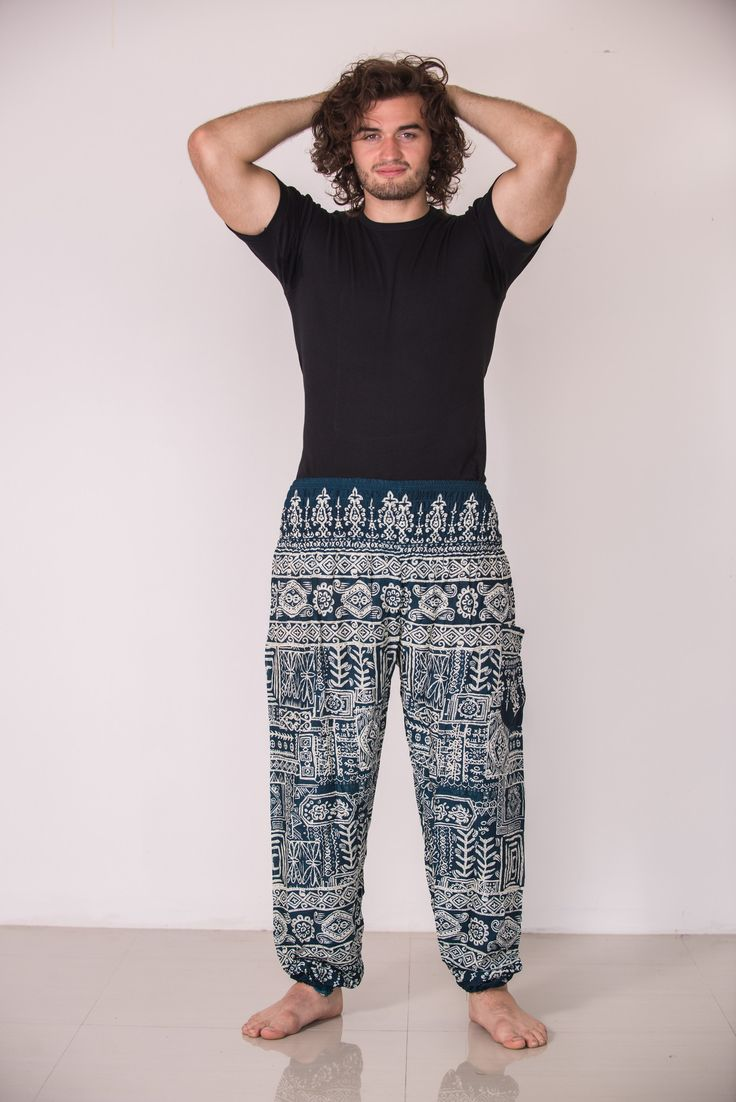 Amazingly soft Tribal Prints Men's Harem Pants in Green.Cotton/Rayon Blend. Free International Shipping on Orders over $60 at HaremPants.com Sizing: One size fits most. Approx. Measurements: Waist: 24