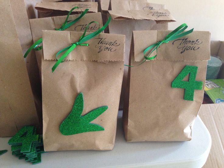 Fiesta de dinosaurios: bolsa con dulces