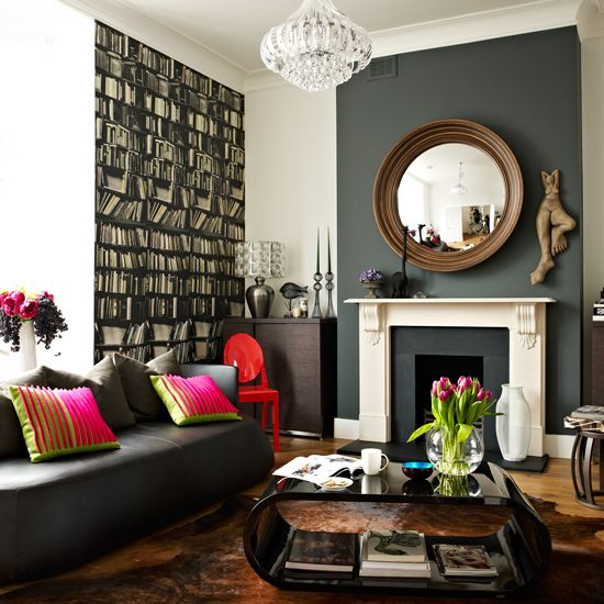 Glamorous living room with grey feature fireplace