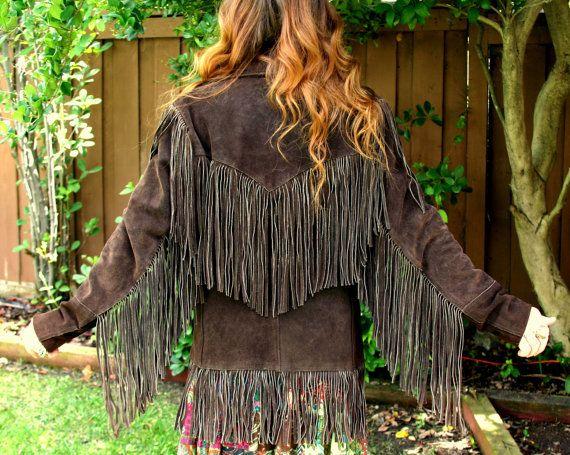 Vintage Hippie 60s Leather Suede Fringe Jacket