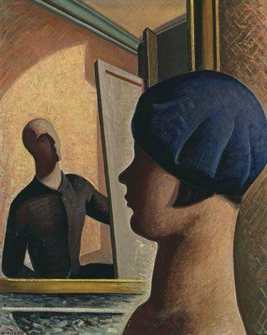 Title: Le bonnet basque o Lo specchio o Il pittore e la modella (1929) Artist: Mario Tozzi.  Nationality: Italian.