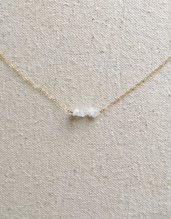 Dainty Moonstone Necklace // Raw Stone Necklace // by KristinaCo