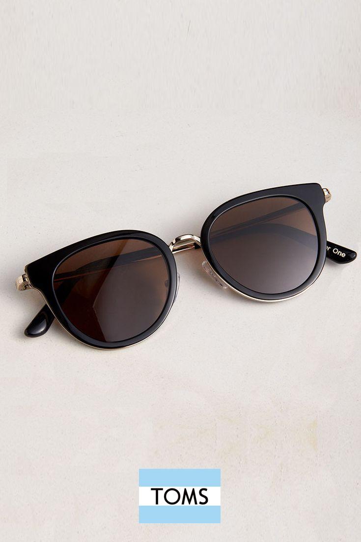 Rey Shiny Black Sunglasses from TOMS. Handmade acetate cat-eye frames.