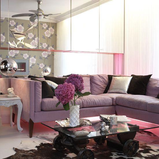 mirrored cabinet + pink lighting