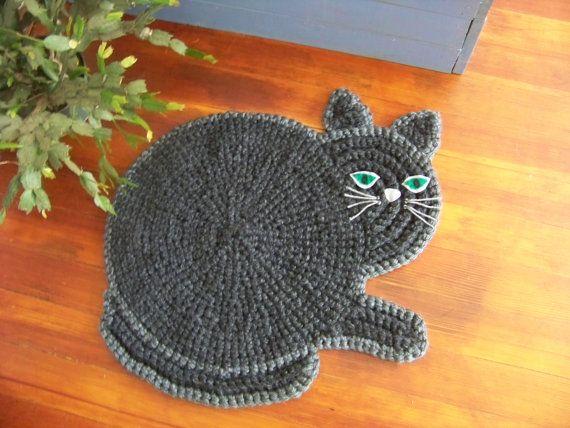 Hand Crocheted  Cat Mat by MatfieldMaple on Etsy, $65.00