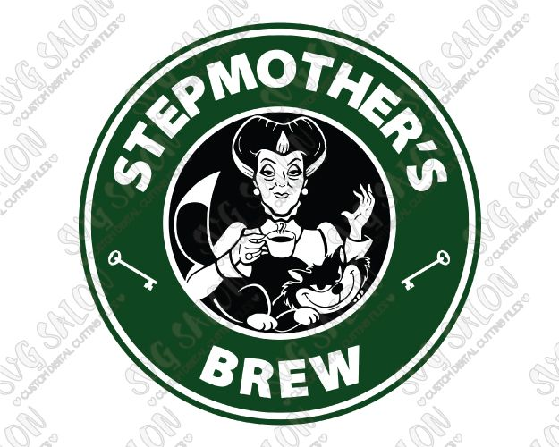 Disney Evil Stepmother Starbucks Logo Stepmother's Brew SVG Cut File Set