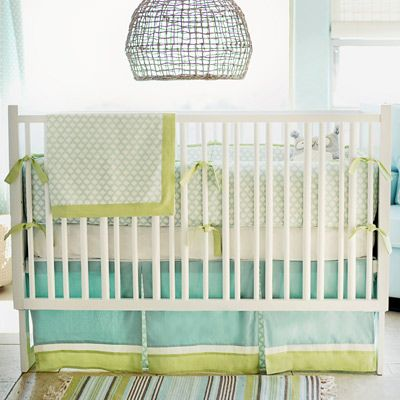 New Arrivals Crib Bedding Sprout @Layla Grayce New Arrivals designs nursery bedding to reflect the whimsy and joy of new life. Soothing aqua and pale green combine with simple stripes and lattice on the Sprout crib bedding set to inspire serenity in a baby's room. Perfect for when the gender is a surprise, its neutral palette can be accented with a variety of colors to suit a boy or girl. Handmade in the USA.