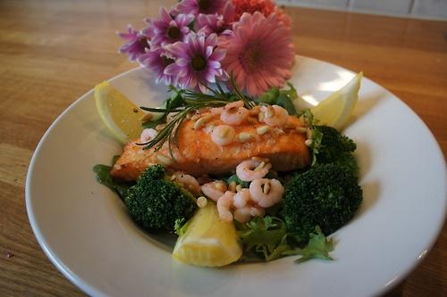 Salmon and prawn salad
