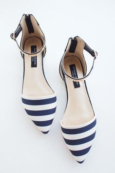 Premium Nautical Strip Pointy Metal Plate Ankle Strap Flats