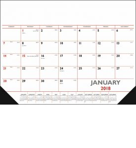 Product: 1D500 2018 Desk Pad Calendar, Red & Black Basic custom imprint setup & PDF proof included! Desk pads keep a customer's name in front of potential clients on a daily basis. Date grid includes Julian dates making it perfect for financial, construction & manufacturing markets. Vinyl corners provide an attractive frame and durability at no extra charge. Norwood Publishing / 6501