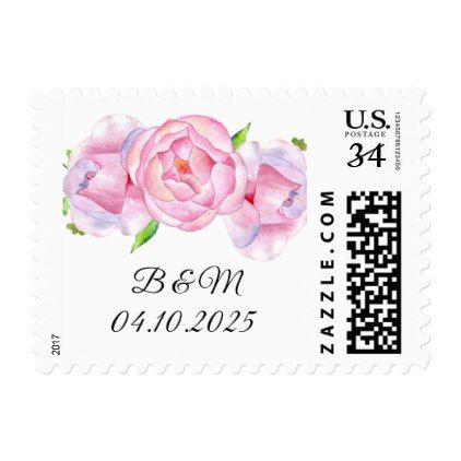 Watercolor Pink Roses Postcard Postage - country wedding gifts marriage love couples diy customize
