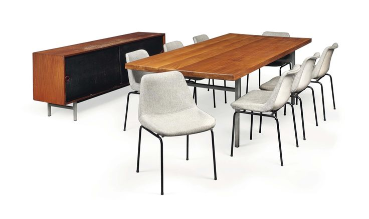 Robin Day (1915-2010) unique dining table and eight variant 'polyprop' chairs, together with a 'status' sideboard, designed 1966-68, 1962, and 1959 respectively