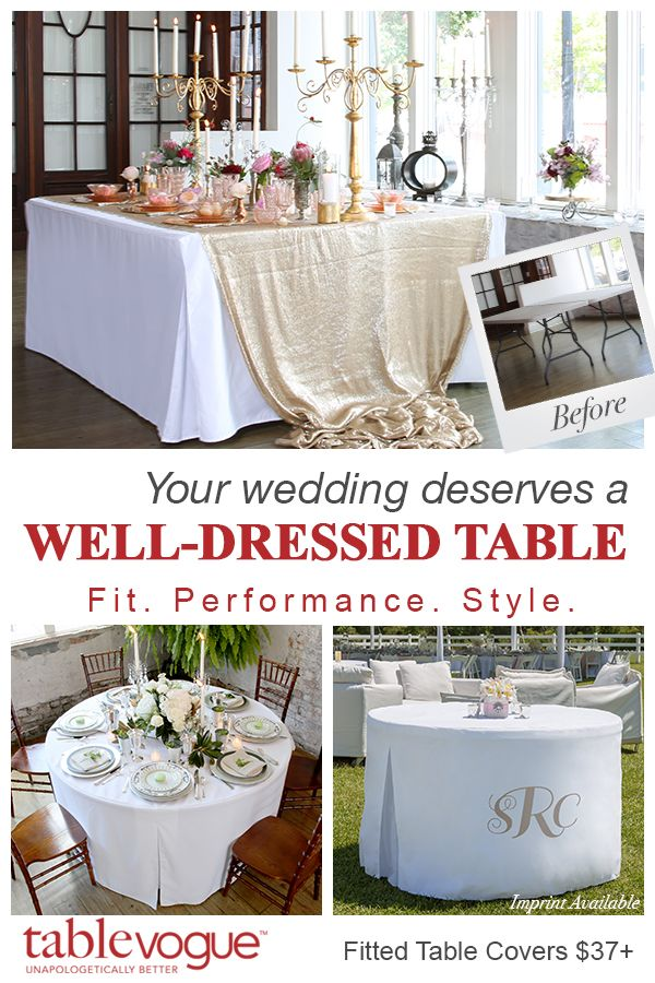 Celebrate your big day in style with elegant table covers that won't break the bank. Choose from 25 fashionable colors to match any palette -- all print and embroider-compatible, so you can create a truly customized look. Turn any folding table into a masterpiece—no one has to know you didn't spend a fortune. Shop Tablevogue today to create your wedding look.