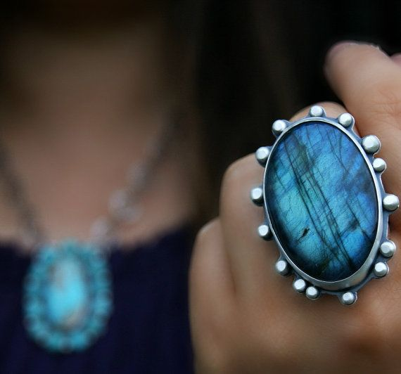 Night Forest Aglow - Labradorite Sterling Silver Ring