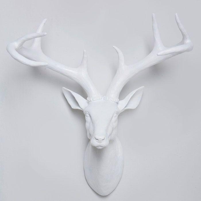 White Large Resin Deer Head Stag Wall Hanging Home Decor Modern Antler Homeware Nest Heads