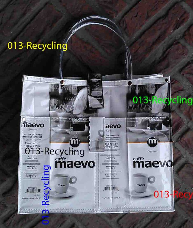 Handbag/Handtas recycled Coffeebags/Koffiezakken_05_type Maevo_WhiteBlack with images/WitZwart met print door Petershandmades op Etsy