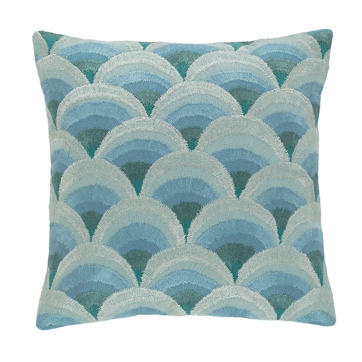 Peacock Embroidered Robin's Egg Blue Decorative Pillow | Pine Cone Hill