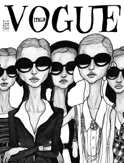 This is a Drawing Danny Roberts did of a chanel collection and made into a Vogue Italy Cover