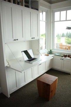 Drop down desk in built-in (looking) bookshelf.