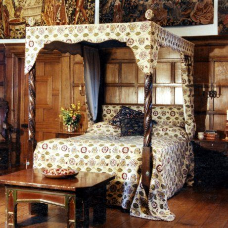 Early Tudor Oak Tester Upholstered In Rose Pansy From The Renaissance Collection