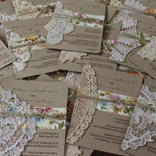 Vintage wedding invitations with crochet and lace doilies embellishment trim, jute twine ribbon, one of a kind; Upcycle, Recycle, Salvage, diy, thrift, flea, repurpose! For vintage ideas and goods shop at Estate ReSale & ReDesign, Bonita Springs, FL