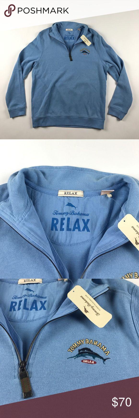 New Small Tommy Bahama Aruba Half Zip Sweater Blue New Tommy Bahama Sweaters Zip Up