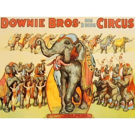Downie Bros. Big 3 Ring Circus, 1935 by Anonymous Vintage Advertising Art Print