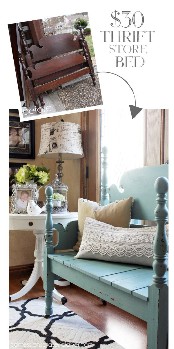 $30 Bed turned gorgeous bench with Mason Jar Blue milk paint from Junque Boutique! confessionsofaser...