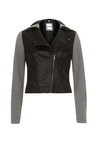 Leather jersey jacket- new look