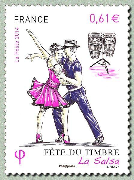 Zoom sur le timbre «La Salsa Fête du timbre 2014 - La danse»