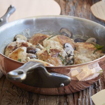 From Sur La Table, poulet a la crème from Jacques Pépin, Poulets & Légumes.