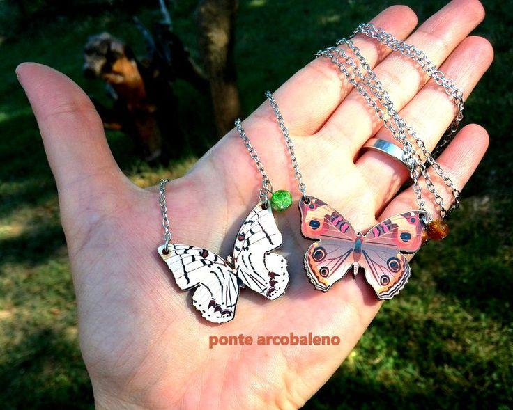 """Collana """"farfalla"""" legno e decoupage/ colorata/ gioiello/ regalo/ per lei/ di…"""