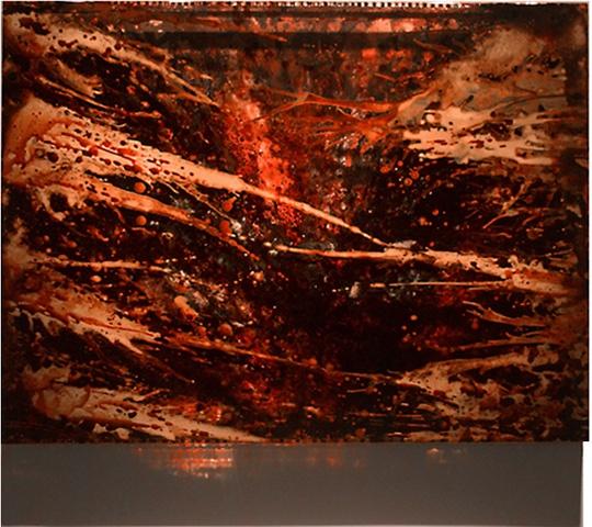 JORDAN EAGLES Blood, copper, preserved on plexiglass, UV resin