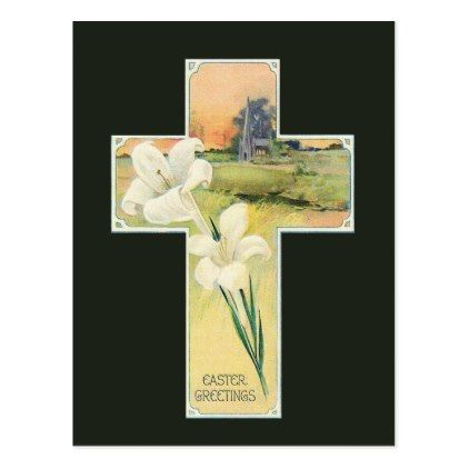 Vintage Easter floral cross Holiday postcard - holiday card diy personalize design template cyo cards idea