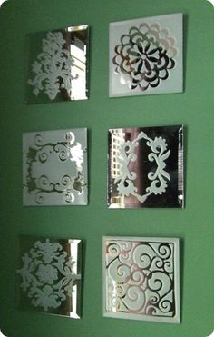 DIY Mirror Coasters With Spray Painted Motifs @knockoffdecor