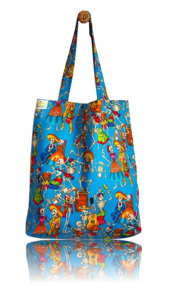 Dia de Los Muertos Lined Tote Bag - Handmade in London via Etsy