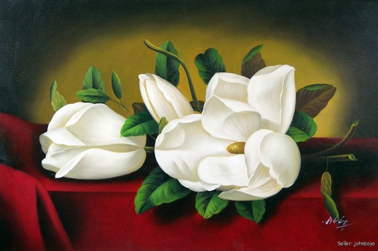 Southern Magnolia Flower Painting | White Magnolia Flowers Buds Floral Large Oil Painting | eBay