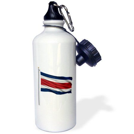 3dRose Flag of Costa Rica on a flag pole over white Rican, Sports Water Bottle, 21oz