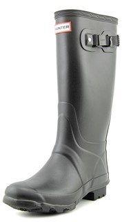Hunter Huntress Women Round Toe Synthetic Black Rain Boot.