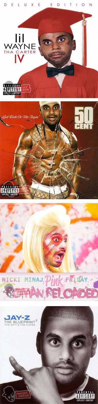 Aziz Ansari Hip-Hop Album Covers Mash-Ups. I like how he incorporated some Bowie into the Minaj cover.
