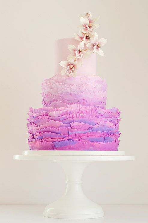 This #radiantorchid cake is elegant and on trend.  The handmade orchids are gorgeous!    #cake #wedding