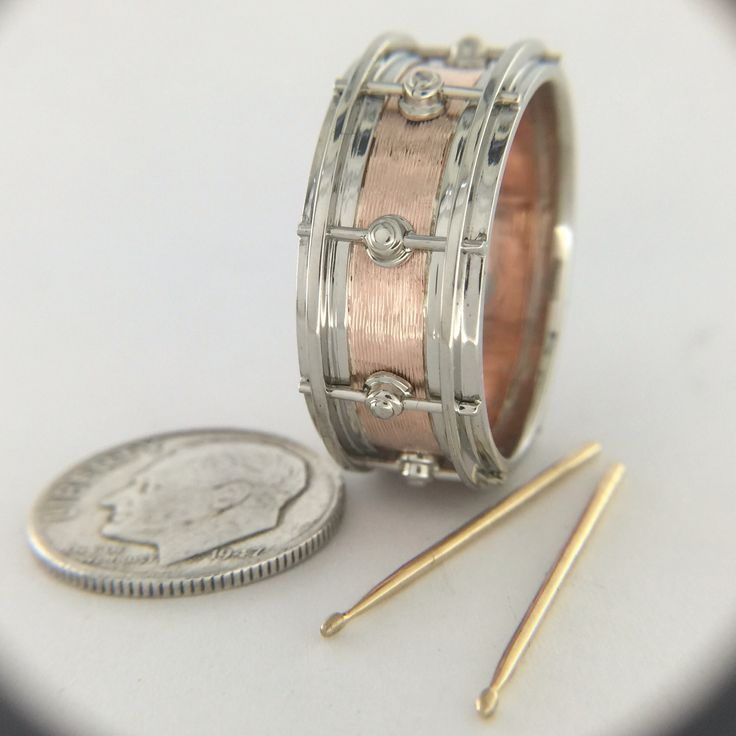 Rose and white gold DW snare drum wedding ring | Atlas Jewelers Bench Talk